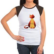 Ginger cat digital art Women's Cap Sleeve T-Shirt