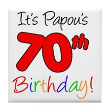 Papous 70th Birthday Tile Coaster