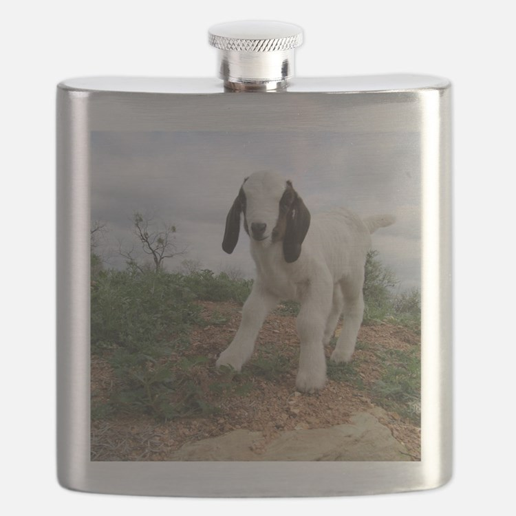 Kid Goat On Hill Flask