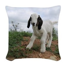 Kid Goat On Hill Woven Throw Pillow