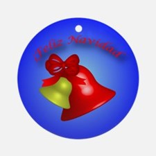 Feliz Navidad gold and red bell Ornament (Round)
