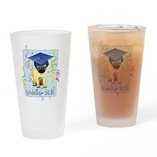 pug grad Drinking Glass
