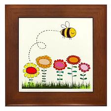 Bee Buzzing Flower Garden Shower Curta Framed Tile