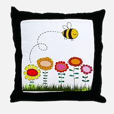 Bee Buzzing Flower Garden Shower Curt Throw Pillow