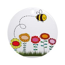 Bee Buzzing Flower Garden Shower Cu Round Ornament
