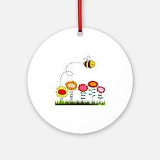 Bee Buzzing Flower Garden Shower Cu Round Ornament