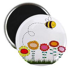 Bee Buzzing Flower Garden Shower Curtain Wh Magnet