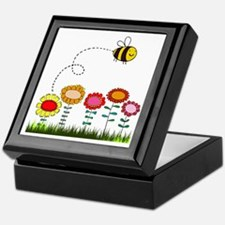 Bee Buzzing Flower Garden Shower Curt Keepsake Box