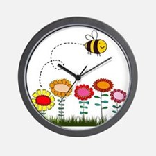 Bee Buzzing Flower Garden Shower Curtai Wall Clock