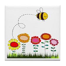 Bee Buzzing Flower Garden Shower Curt Tile Coaster
