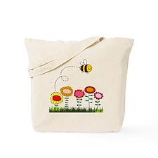 Bee Buzzing Flower Garden Shower Curtain  Tote Bag