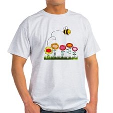 Bee Buzzing Flower Garden Shower Cur T-Shirt