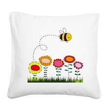 Bee Buzzing Flower Garden Sho Square Canvas Pillow