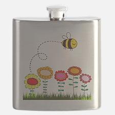Bee Buzzing Flower Garden Shower Curtain Whi Flask