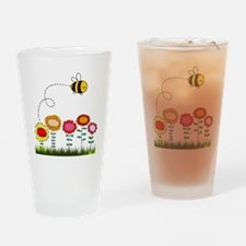 Bee Buzzing Flower Garden Shower Cu Drinking Glass