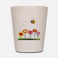 Bee Buzzing Flower Garden Shower Curtai Shot Glass