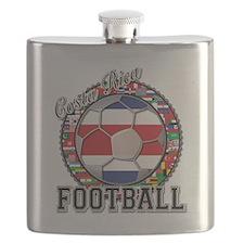 Costa Rica Flag World Cup Football Soccer Ba Flask