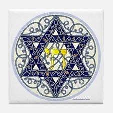 Celtic Art Star of David Tile Coaster