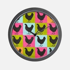 poster-chickenpopart Wall Clock