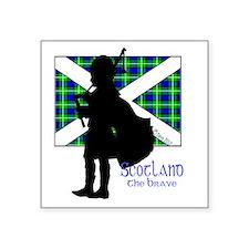 """Scotland Piper Flag 2 Square Sticker 3"""" x 3"""""""