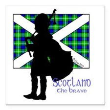 "Scotland Piper Flag 2 Square Car Magnet 3"" x 3"""