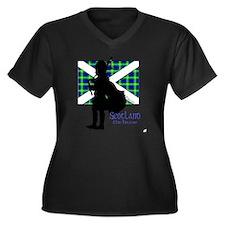 Scotland Pip Women's Plus Size Dark V-Neck T-Shirt