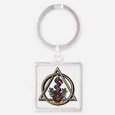 Dentistry Caduceus Square Keychain