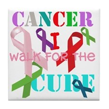 Cancer, I walk for a cure Tile Coaster