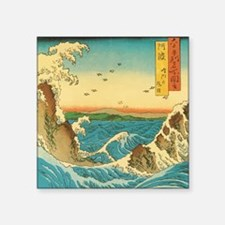 "HiroshigeRapids1SC Square Sticker 3"" x 3"""