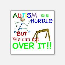 "Autism is a Hurdle-Boy2 Square Sticker 3"" x 3"""