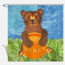 duvetQueenHoneyBear Shower Curtain