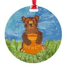 squareHoneyBear Ornament