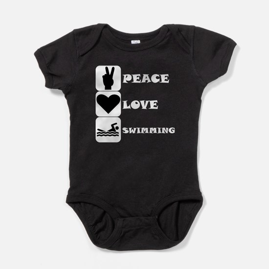 Peace Love Swimming Baby Bodysuit