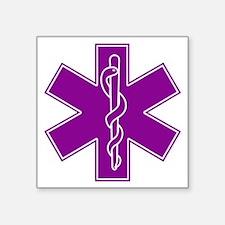 "star of life purple Square Sticker 3"" x 3"""