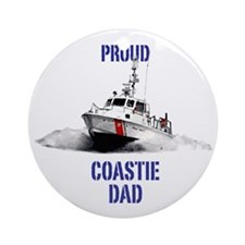 USCG Boat Dad Round Ornament