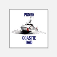 "USCG Boat Dad Square Sticker 3"" x 3"""