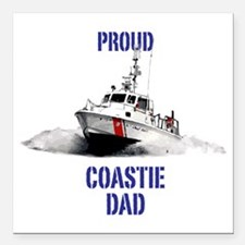 "USCG Boat Dad Square Car Magnet 3"" x 3"""
