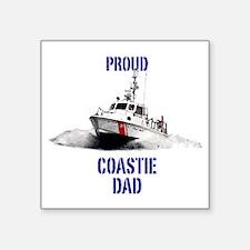 "USCG Boat Dad Mug Square Sticker 3"" x 3"""