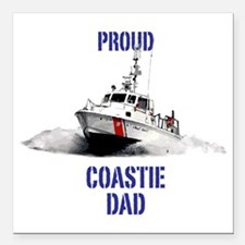 "USCG Boat Dad Mug Square Car Magnet 3"" x 3"""