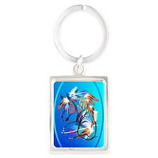 Jewel Oval Bright Horse 2 Portrait Keychain