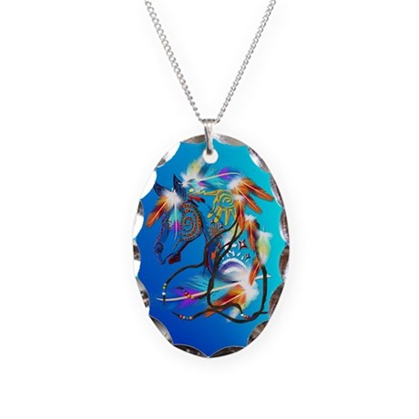 Jewel Oval Bright Horse 2 Necklace Oval Charm