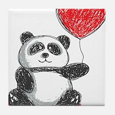 Panda with Heart Balloon Tile Coaster