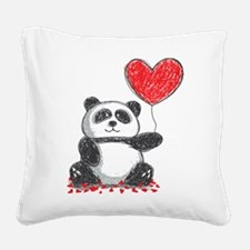 Panda with Heart Balloon Square Canvas Pillow