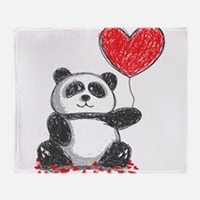 Panda with Heart Balloon Throw Blanket