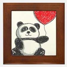 Panda with Heart Balloon Framed Tile