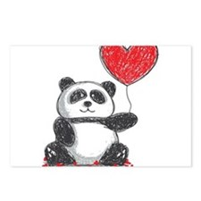 Panda with Heart Balloon Postcards (Package of 8)