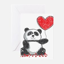 Panda with Heart Balloon Greeting Cards