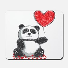 Panda with Heart Balloon Mousepad