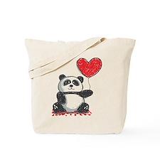 Panda with Heart Balloon Tote Bag