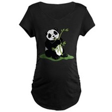Panda Eating Bamboo Maternity T-Shirt